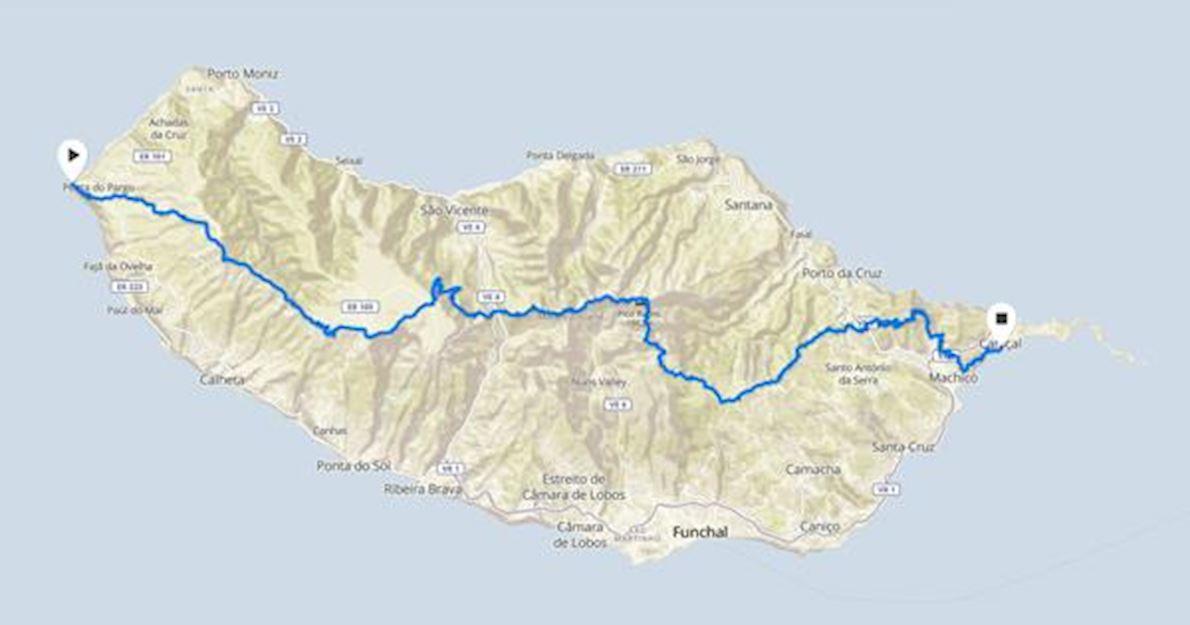 Ultra Madeira Mappa del percorso
