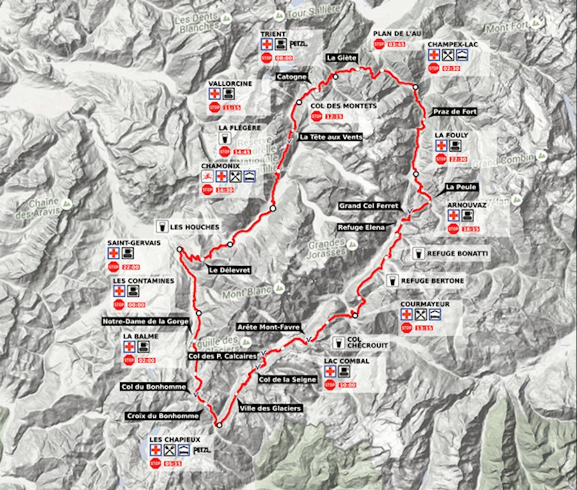 Ultra Trail du Mont-Blanc Mappa del percorso