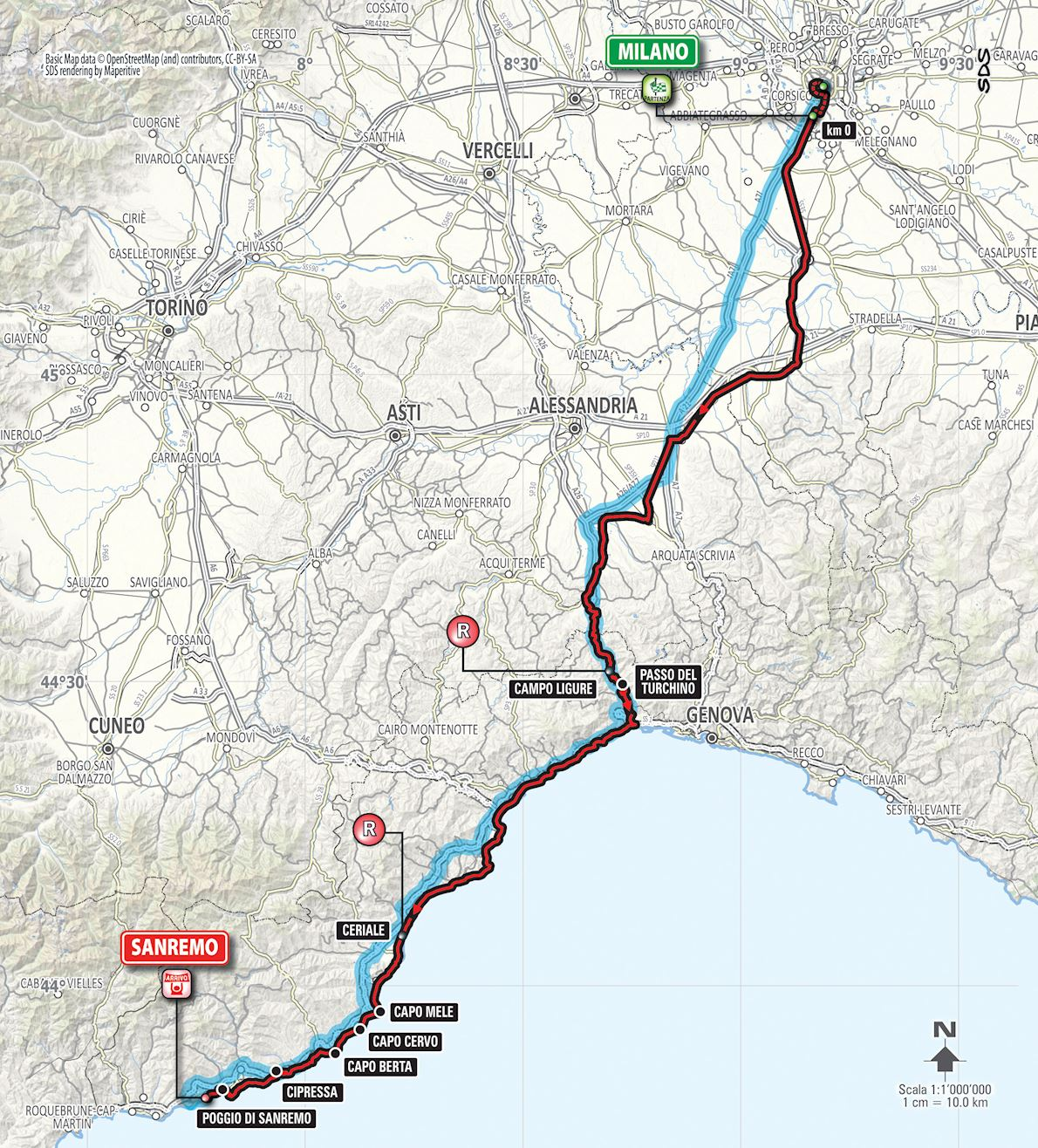 Ultramaratona Milano Sanremo Routenkarte