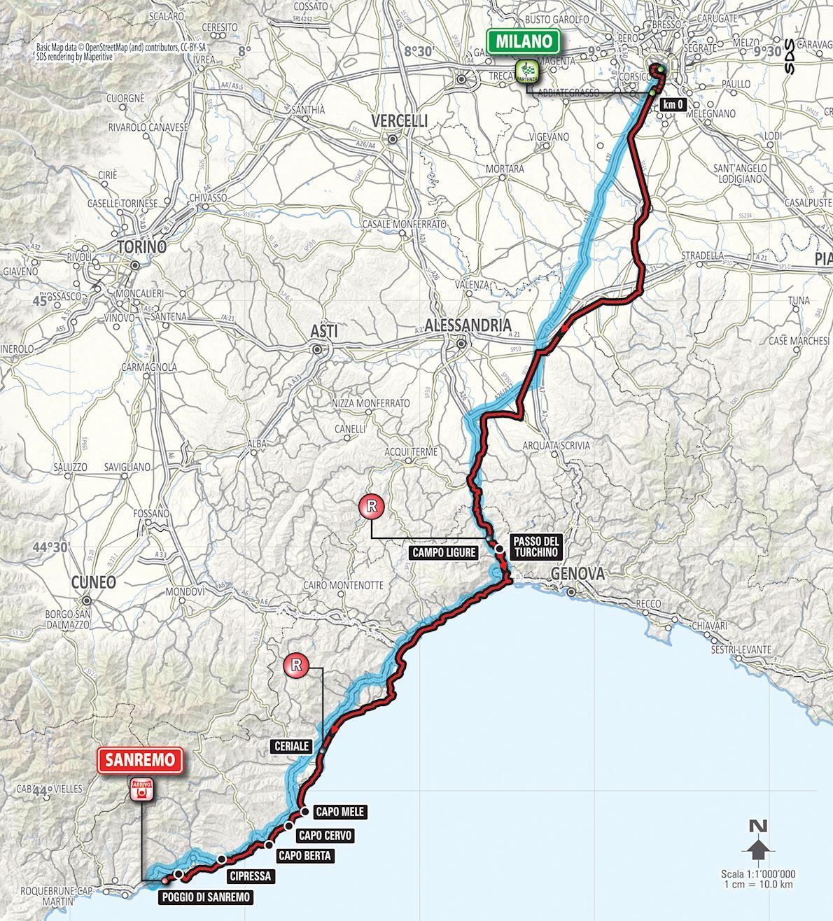 Ultramaratona Milano Sanremo 路线图