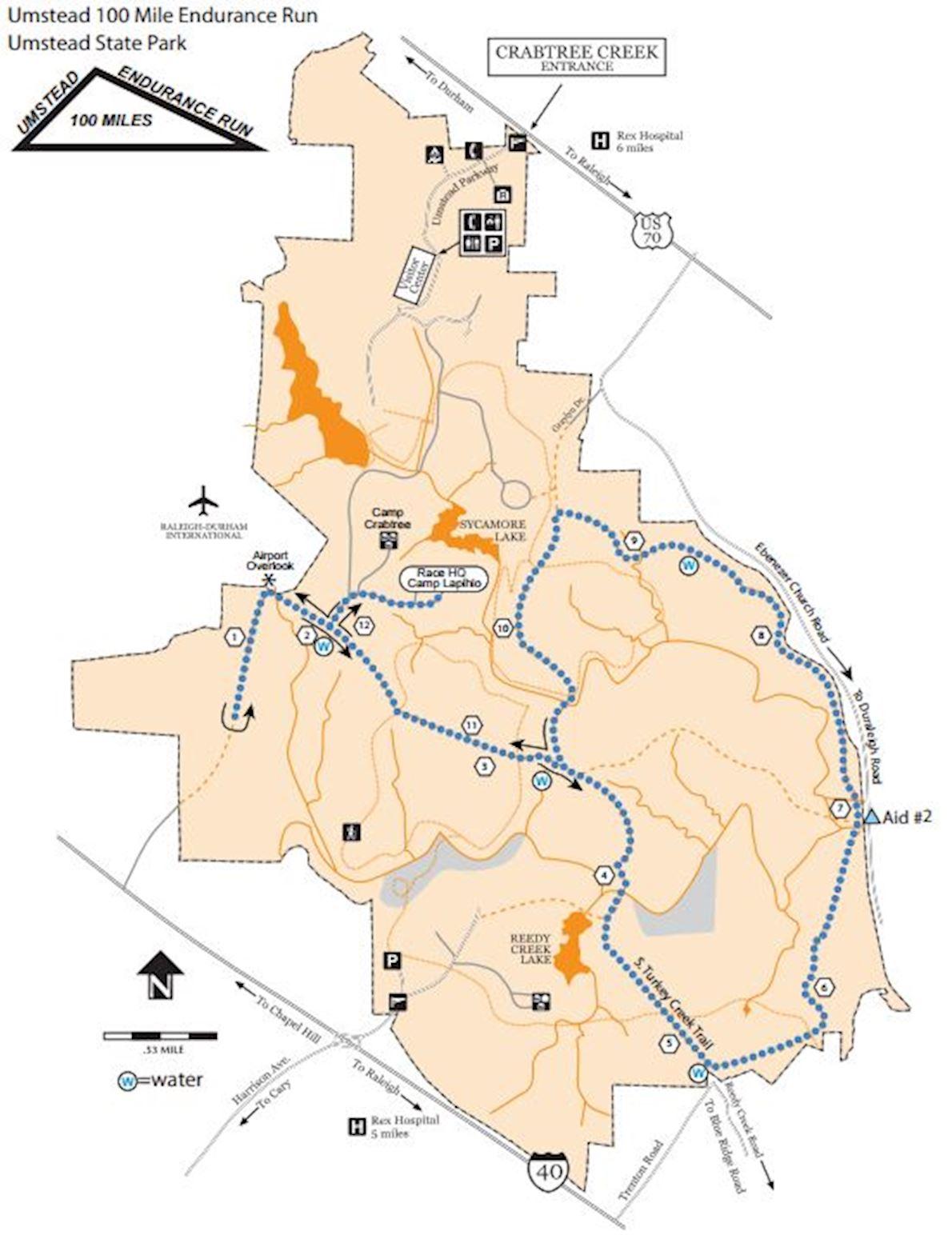 Umstead 100 Mile Endurance Run Routenkarte