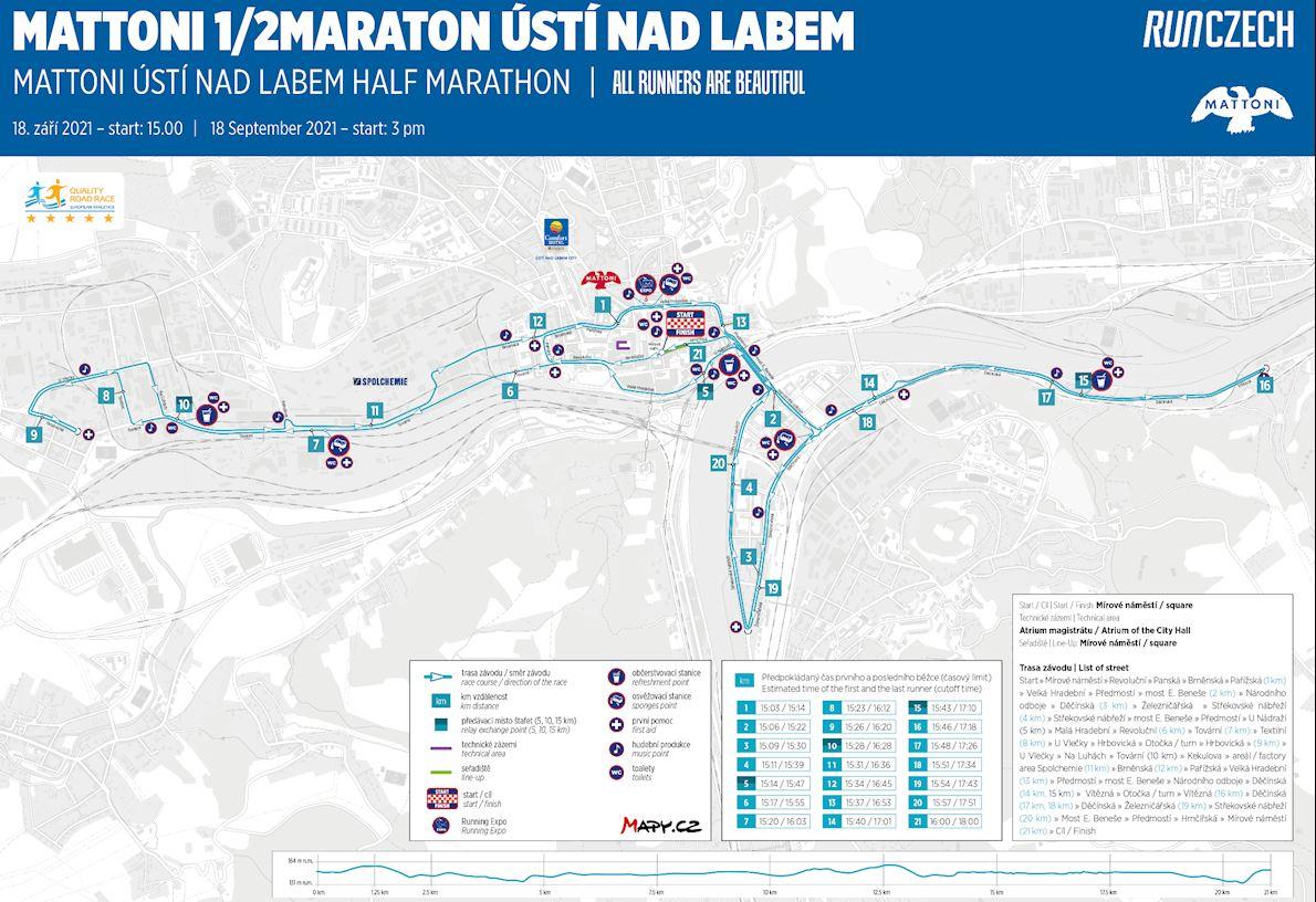 Mattoni Ústí Nad Labem Half Marathon 路线图