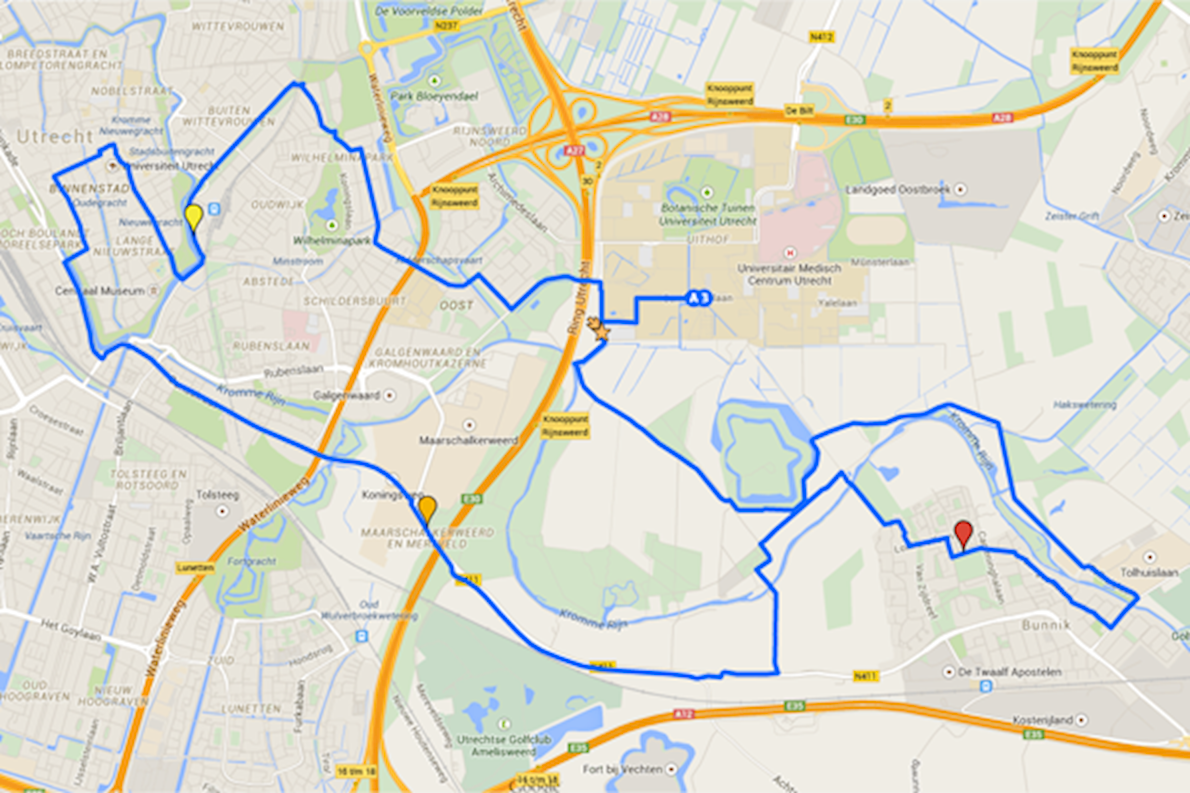 Utrecht Marathon Routenkarte