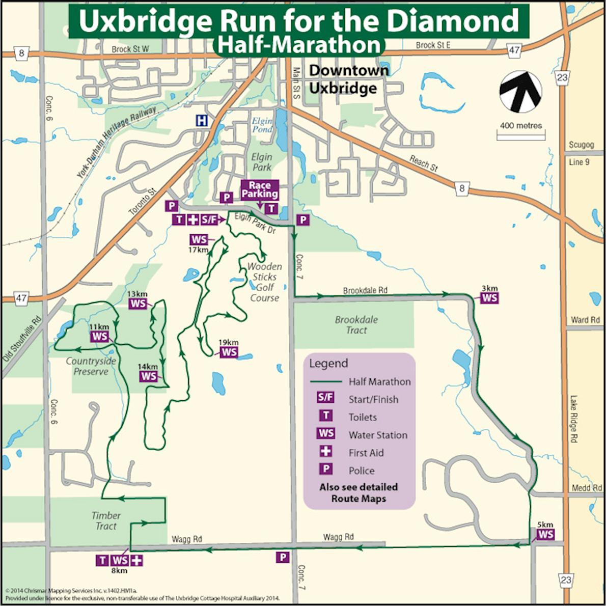 Uxbridge Half Marathon - Run for the Diamond Routenkarte
