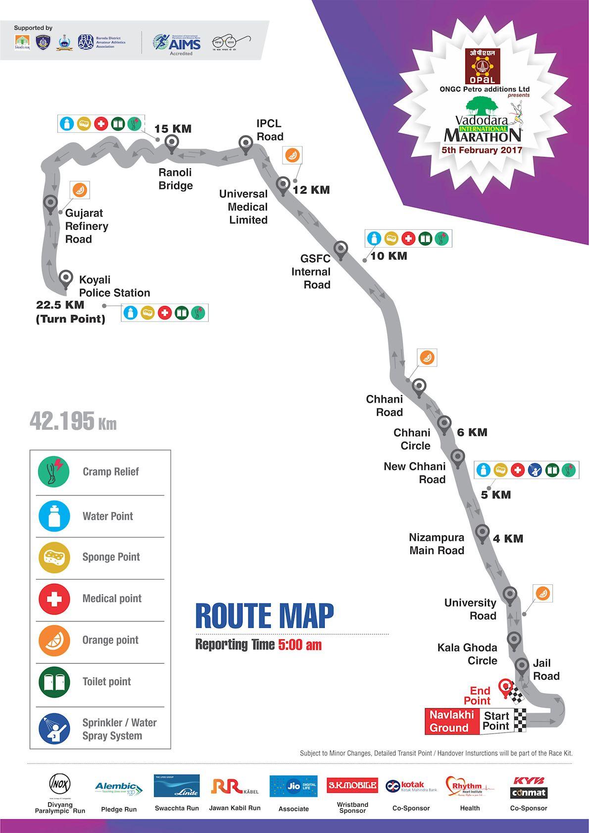 Vadodara International Marathon Route Map