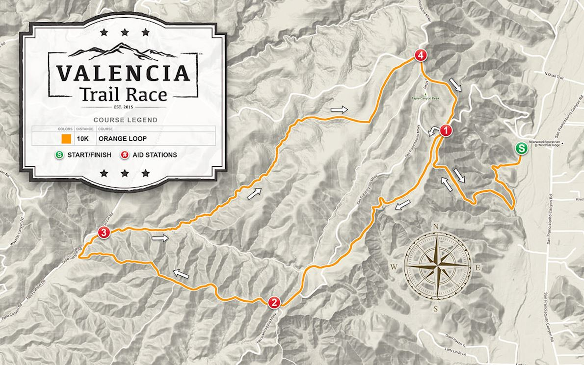 VALENCIA, CA Trail Race Route Map