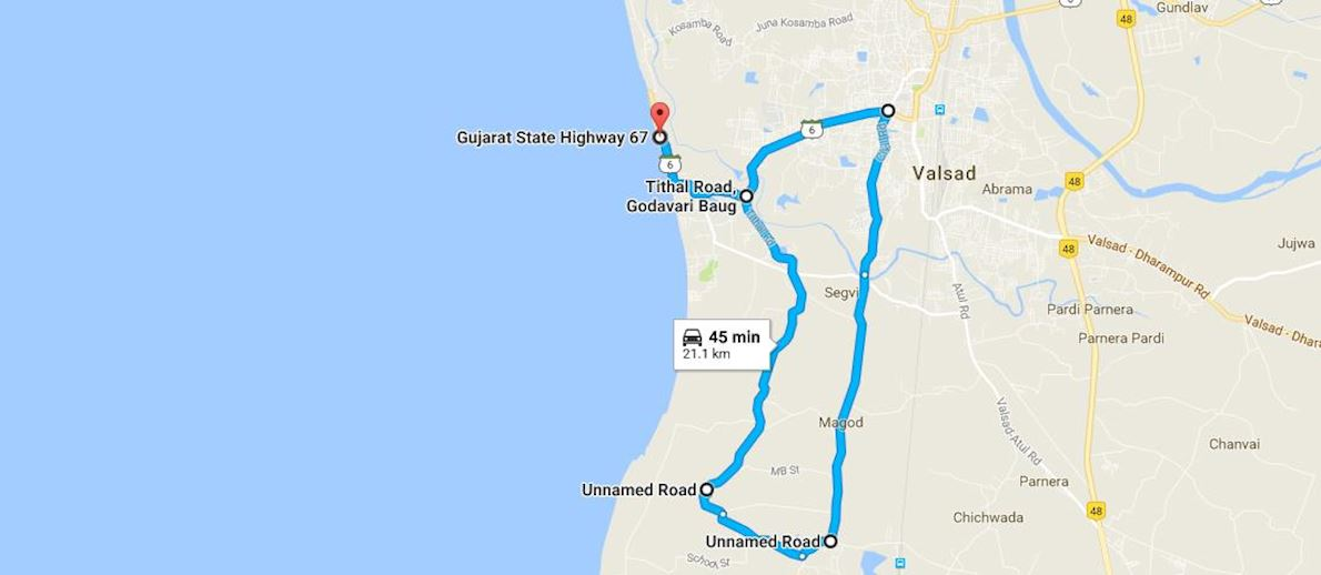 Valsad City Half Marathon Route Map