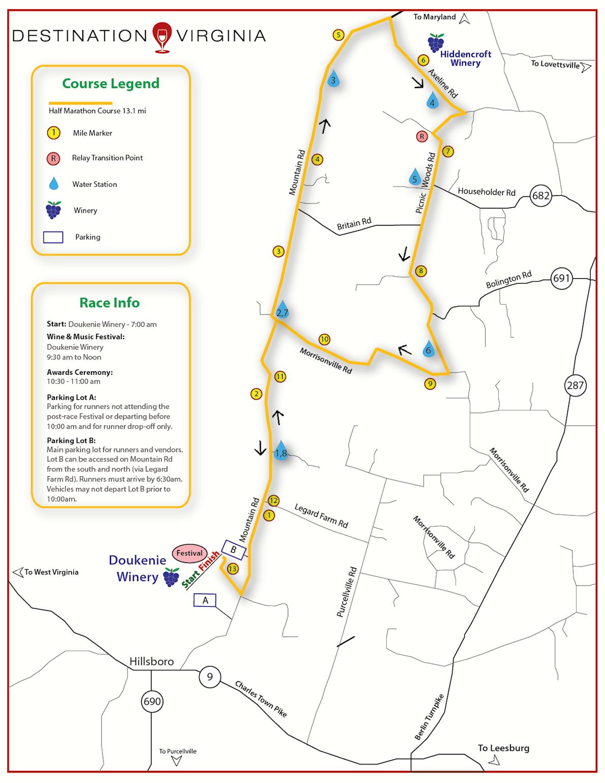 Virginia Wine Country Half Marathon MAPA DEL RECORRIDO DE