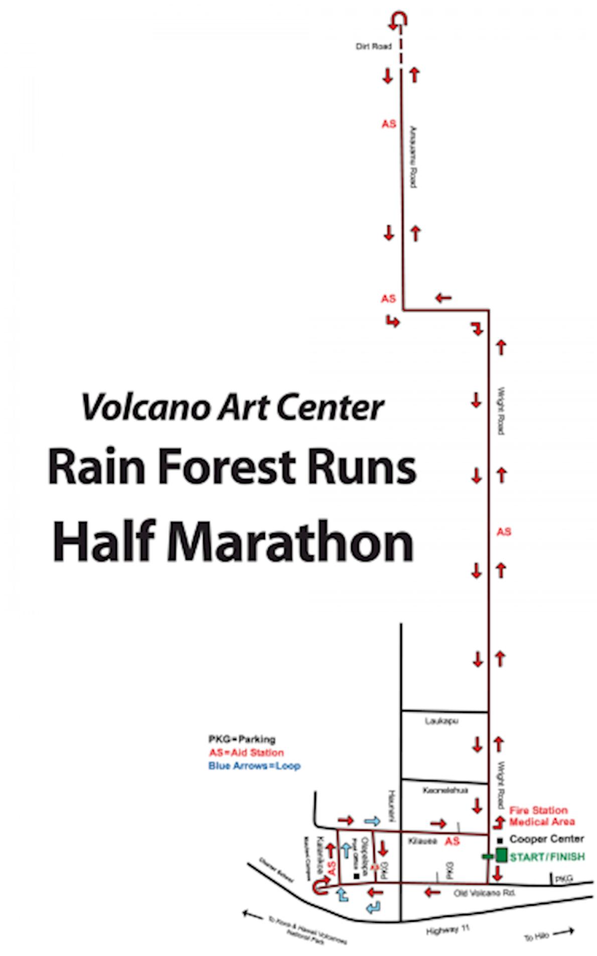 Volcano Art Center Rain Forest Runs MAPA DEL RECORRIDO DE