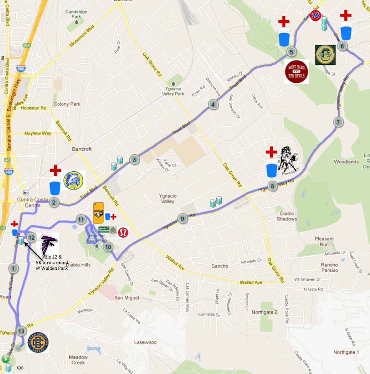 Walnut Creek Running Festival at Christmas Mappa del percorso