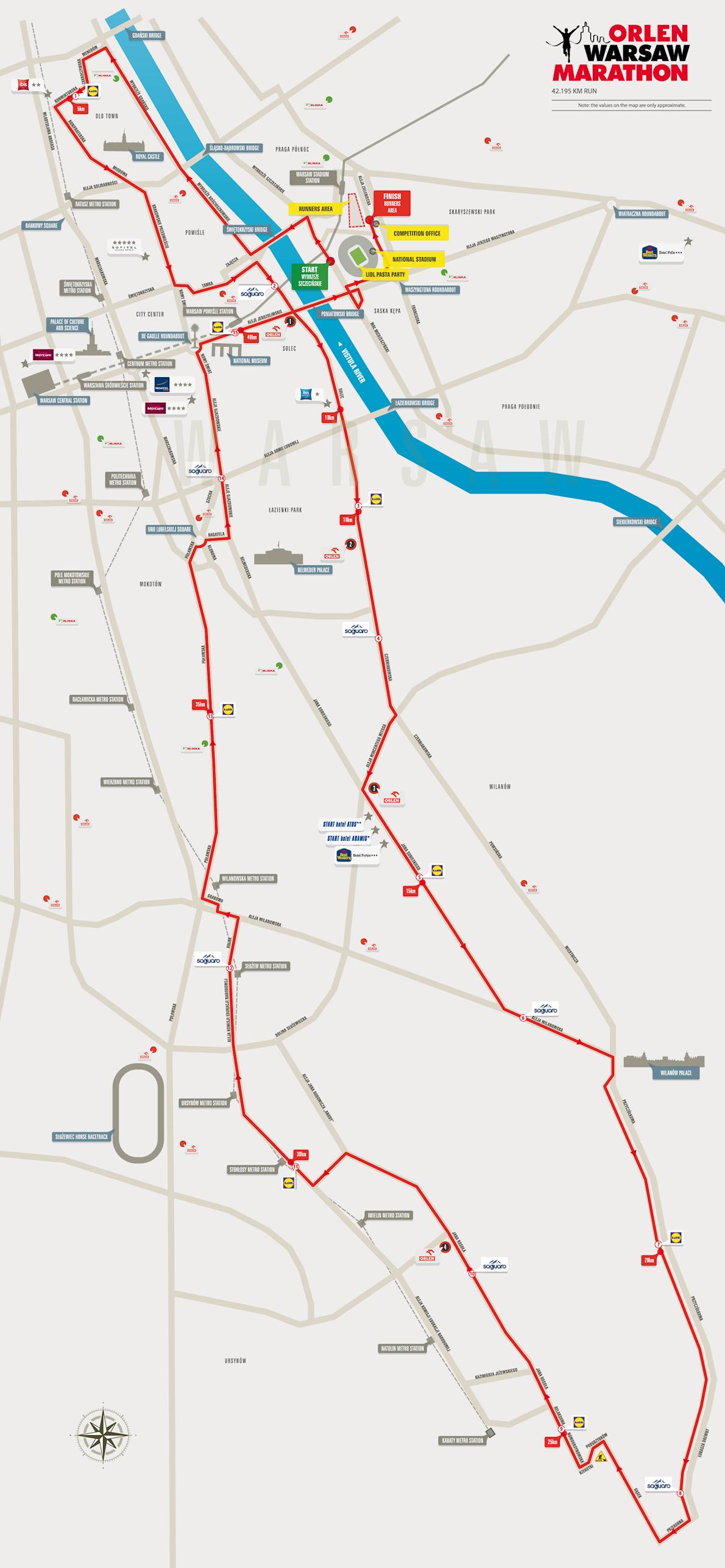 Orlen Warsaw Marathon Route Map