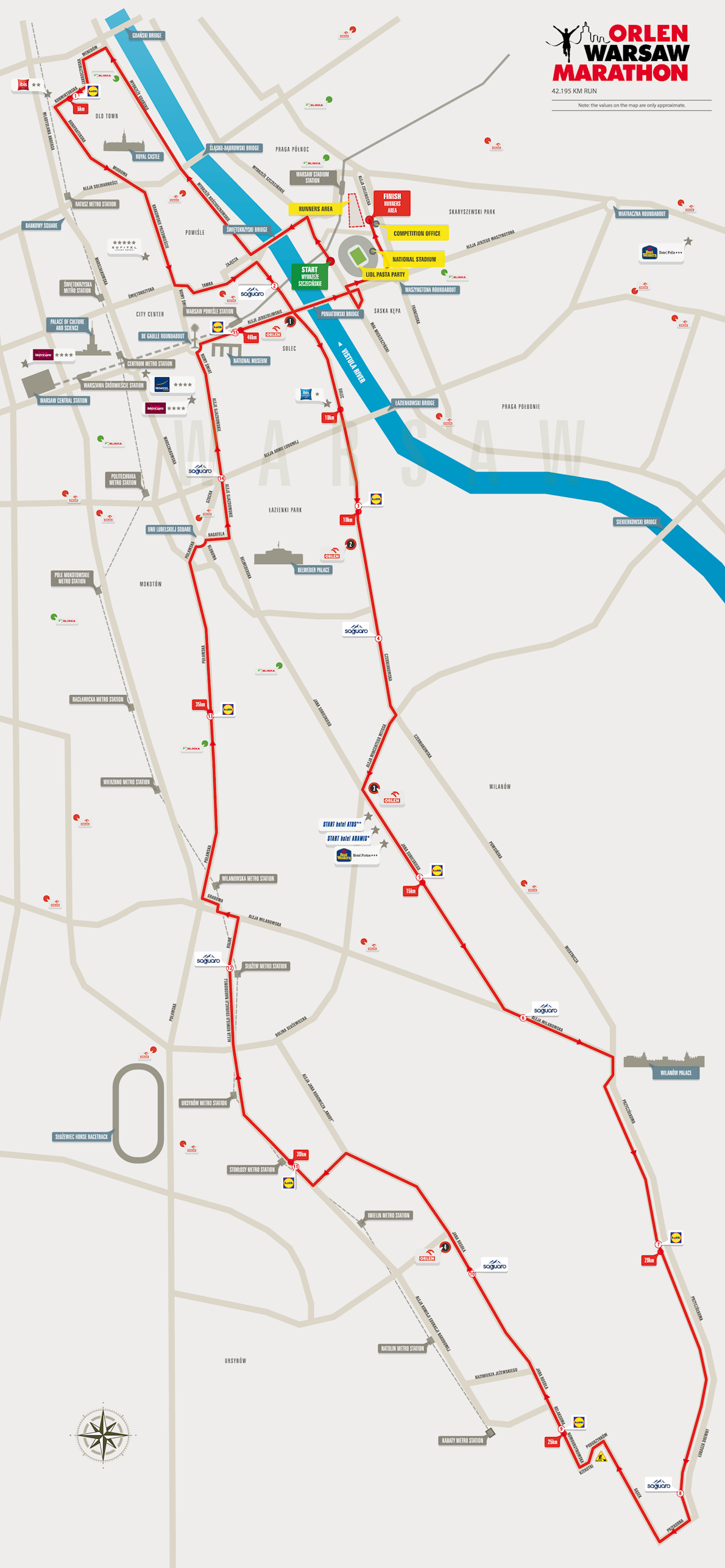Orlen Warsaw Marathon Mappa del percorso