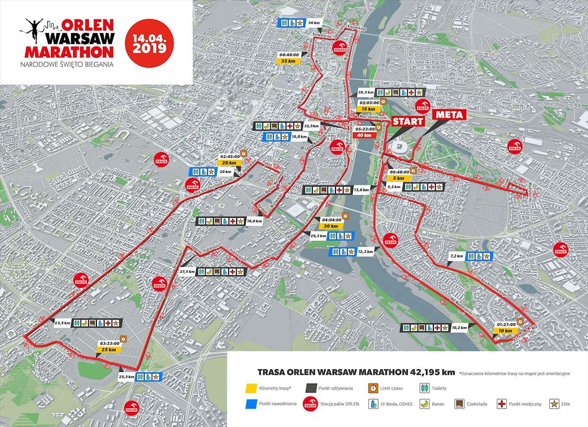 Marathon de Varsovie ORLEN Routenkarte