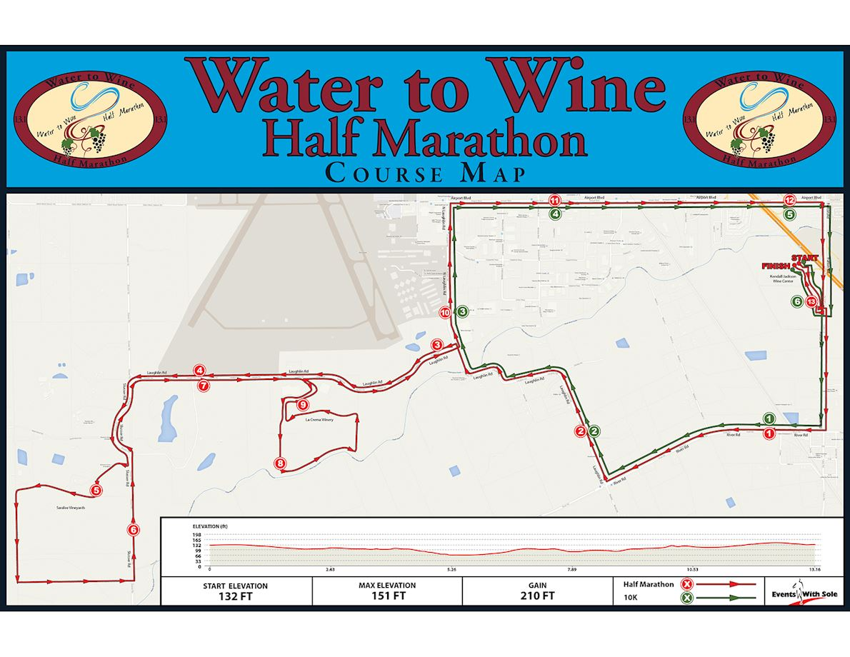 Water to Wine Half Marathon 路线图