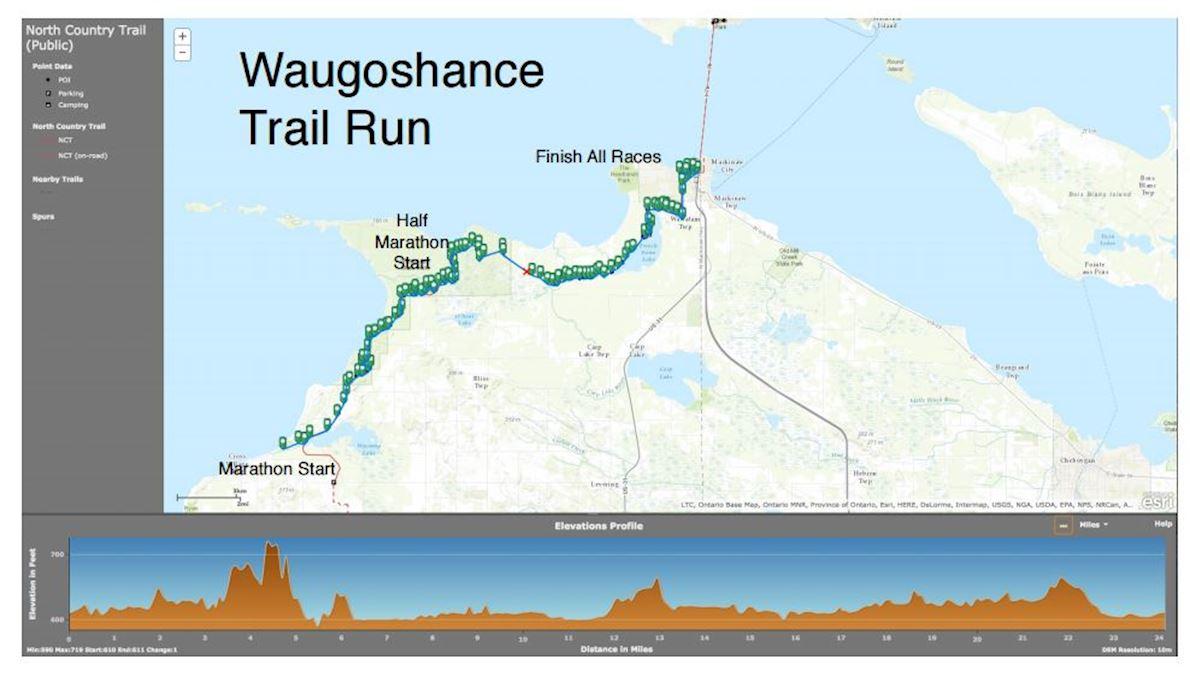 Waugoshance Trail Marathon, 1/2 Marathon, 5K MAPA DEL RECORRIDO DE