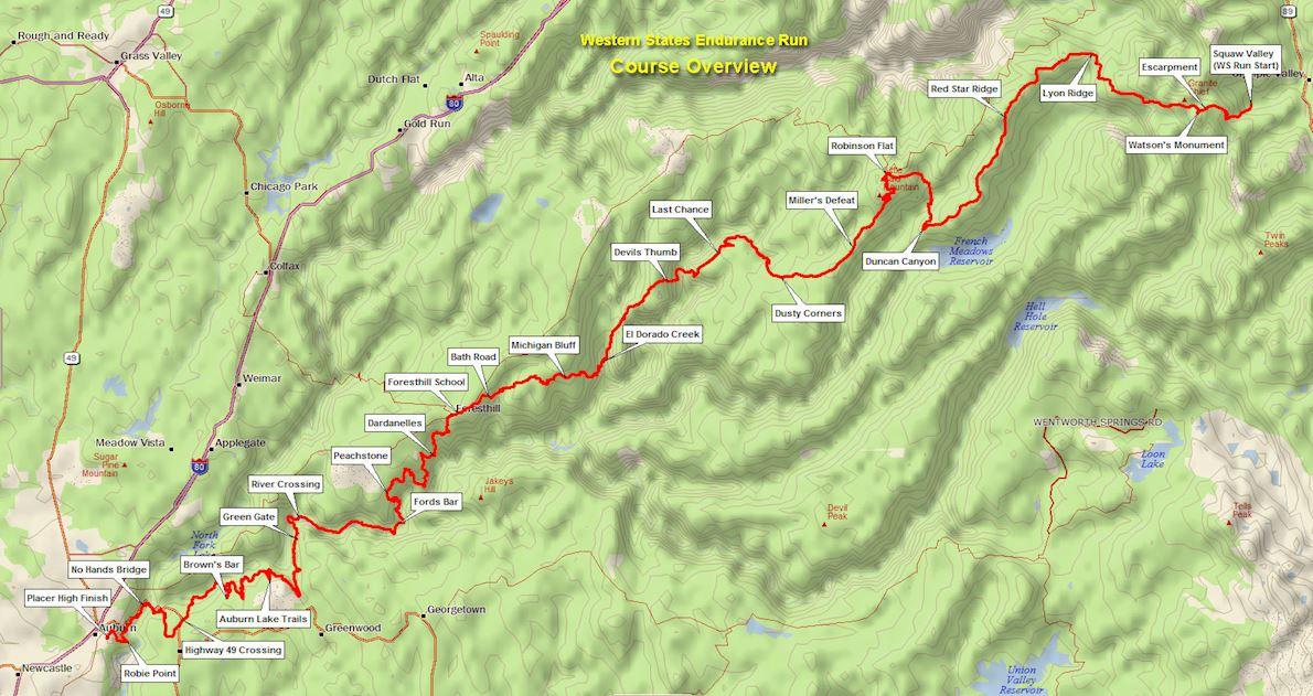 Western States Endurance Run MAPA DEL RECORRIDO DE