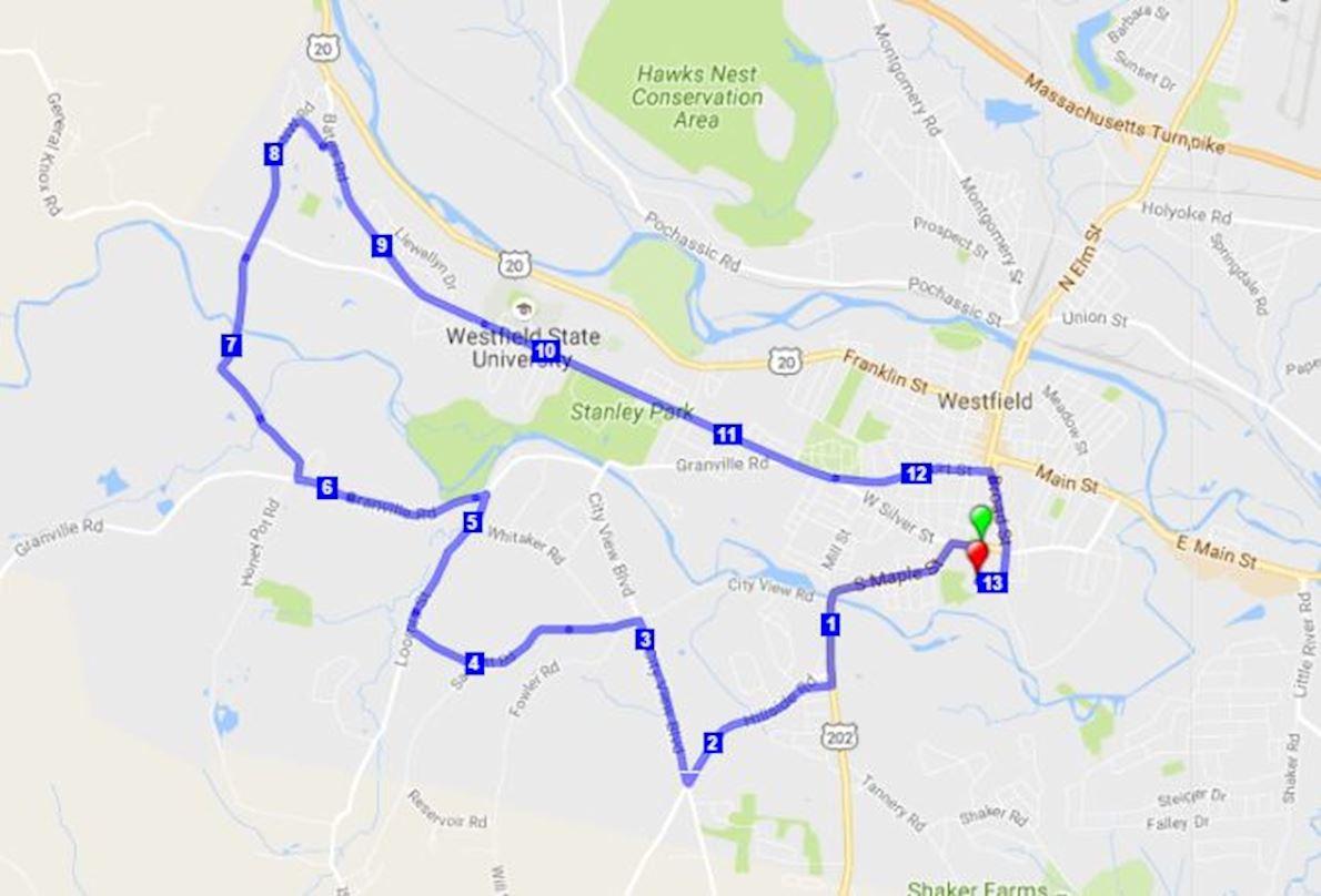 WestField Half Marathon Route Map