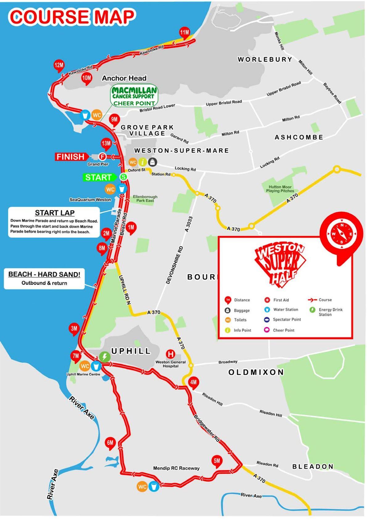 Weston Super Half Route Map