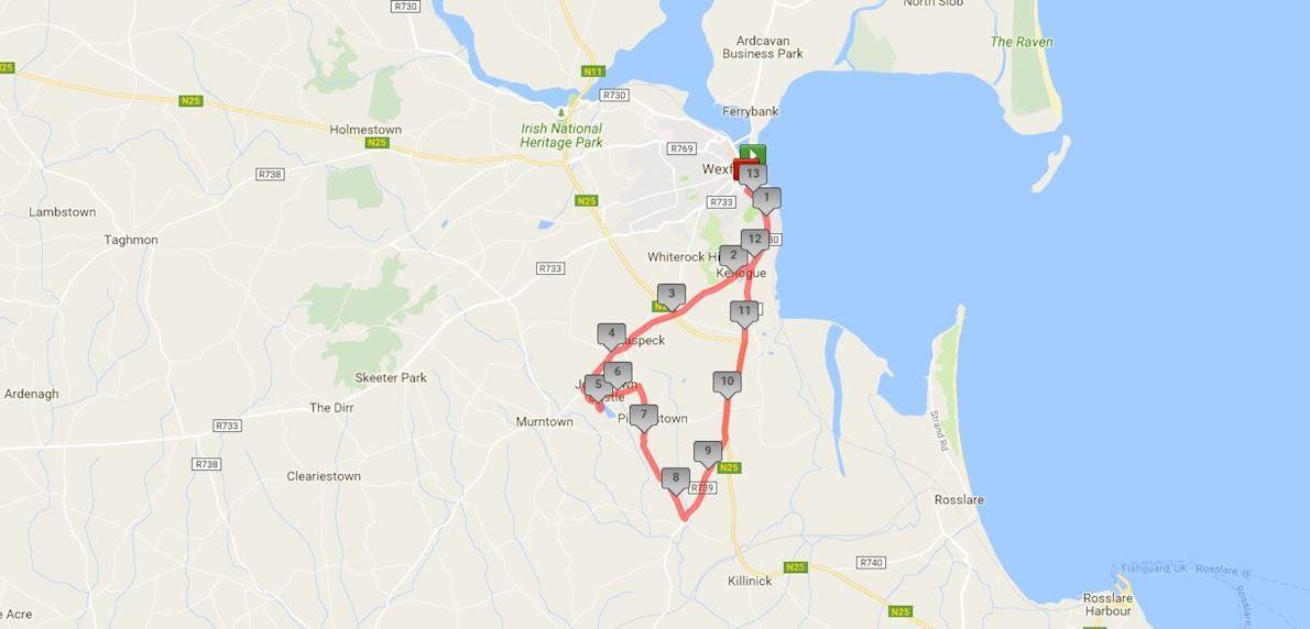 Wexford Half Marathon & 10K 路线图