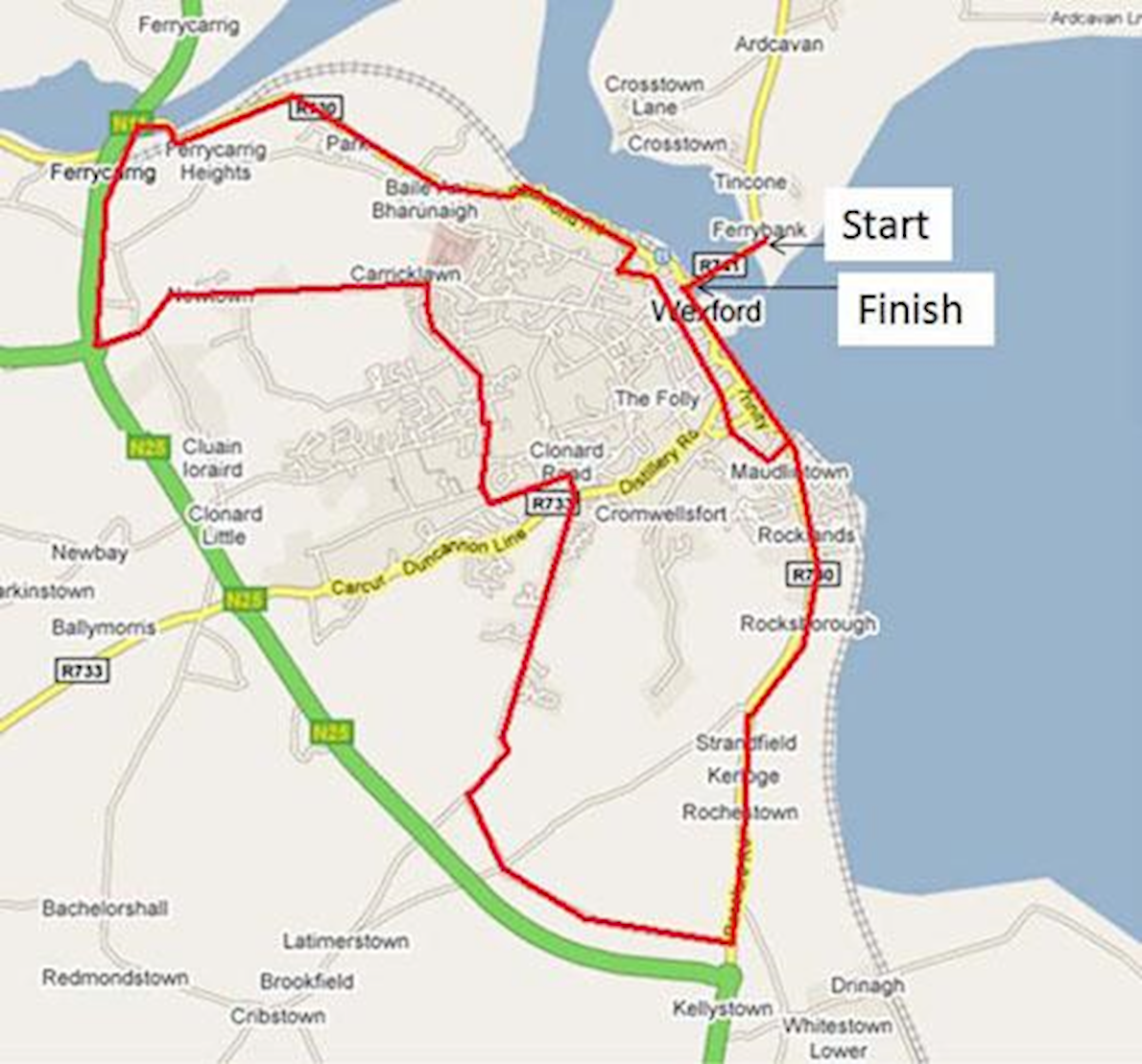 Wexford marathon Route Map