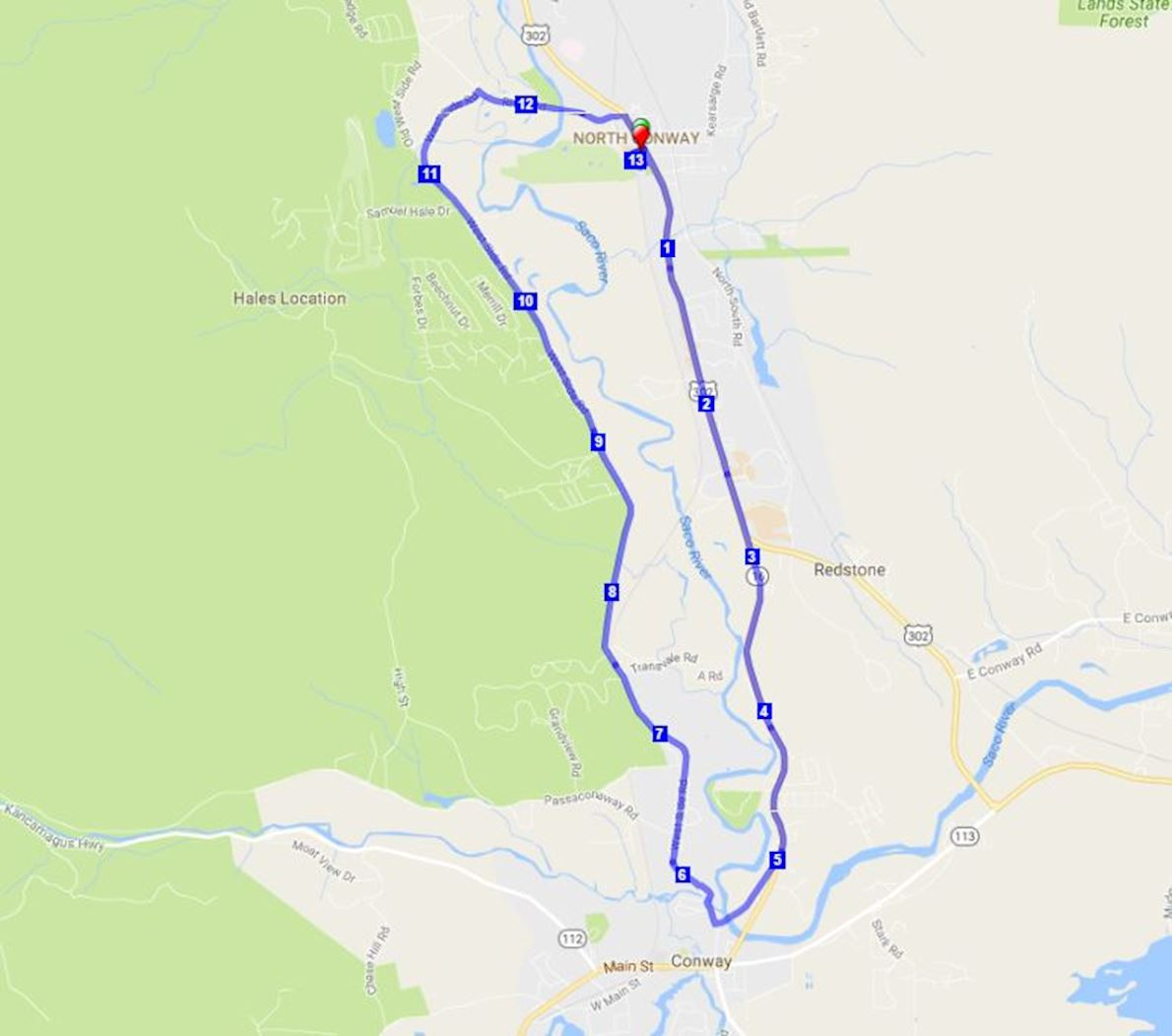 White Mountain Milers Half Marathon & 5K Route Map
