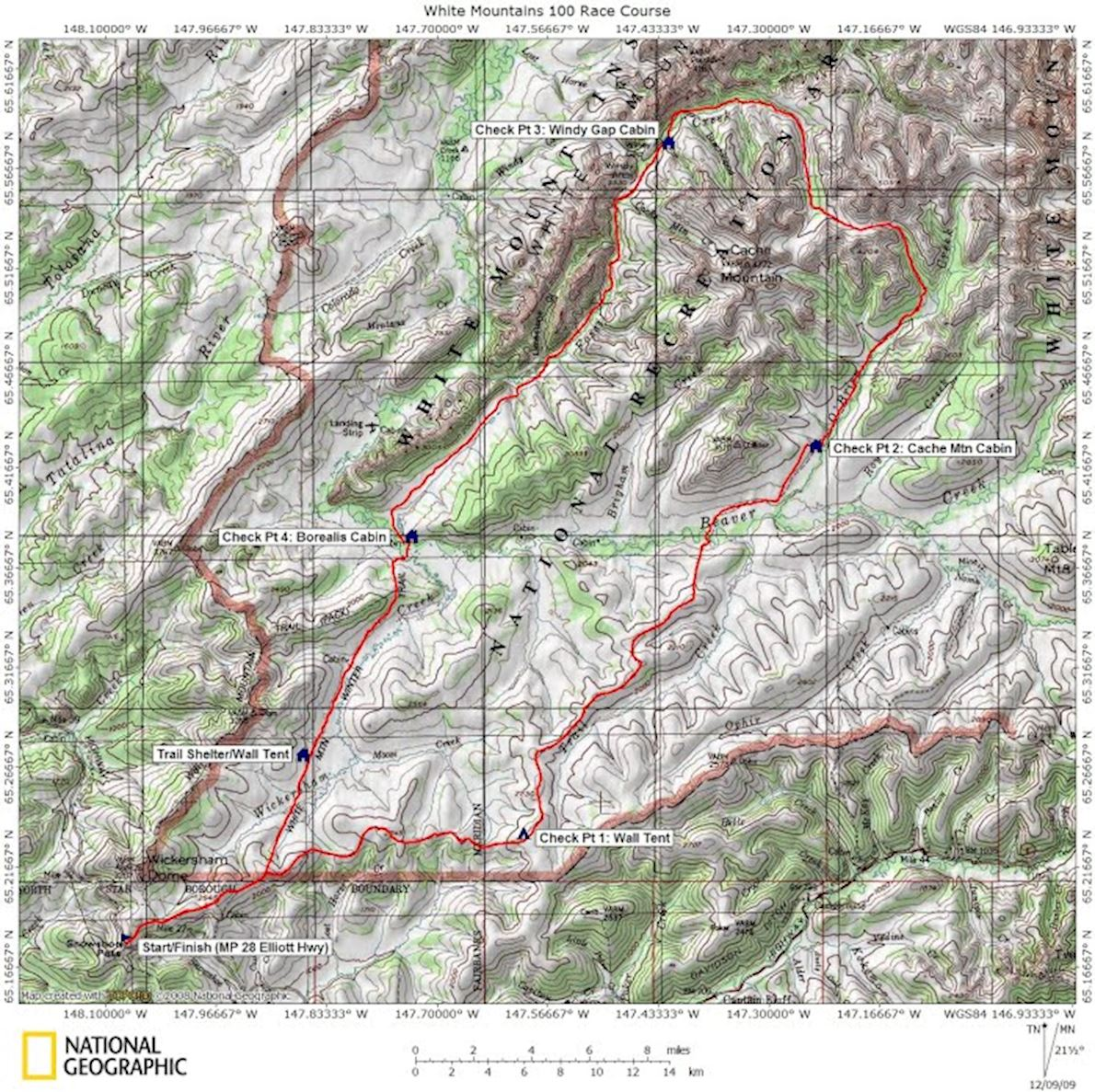 White Mountains 100 Mappa del percorso