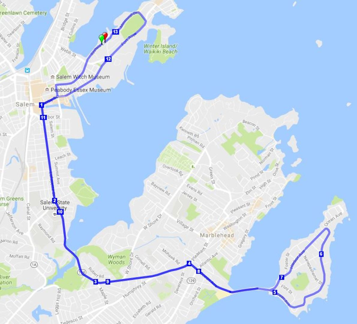 Wicked Half Marathon 路线图