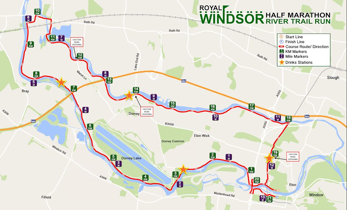 Windsor Half-Marathon Route Map