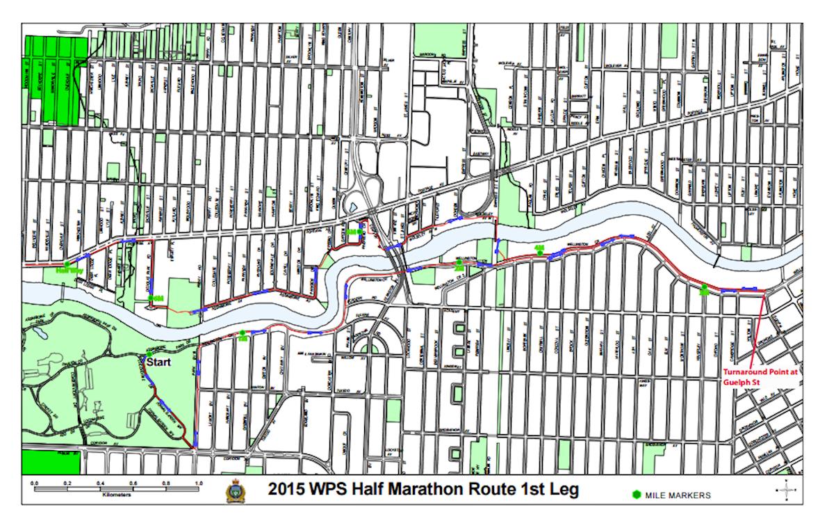 Winnipeg Police Service Half Marathon 路线图