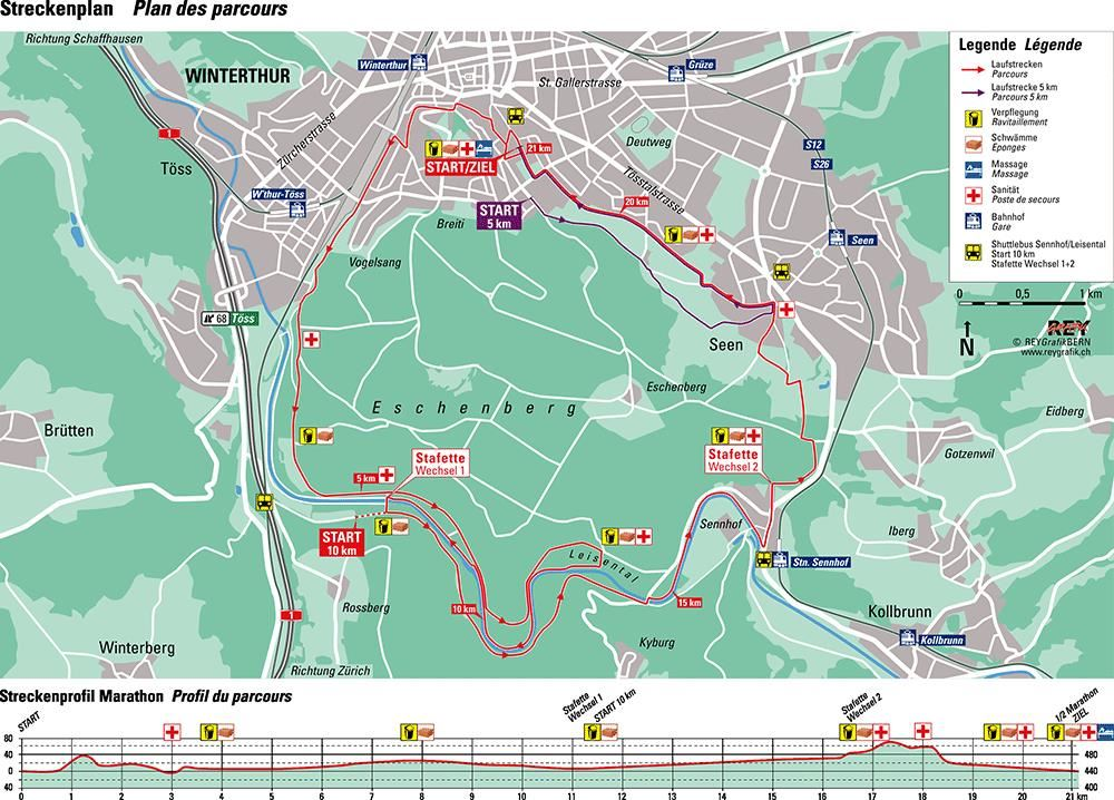 Winterthur Marathon Route Map