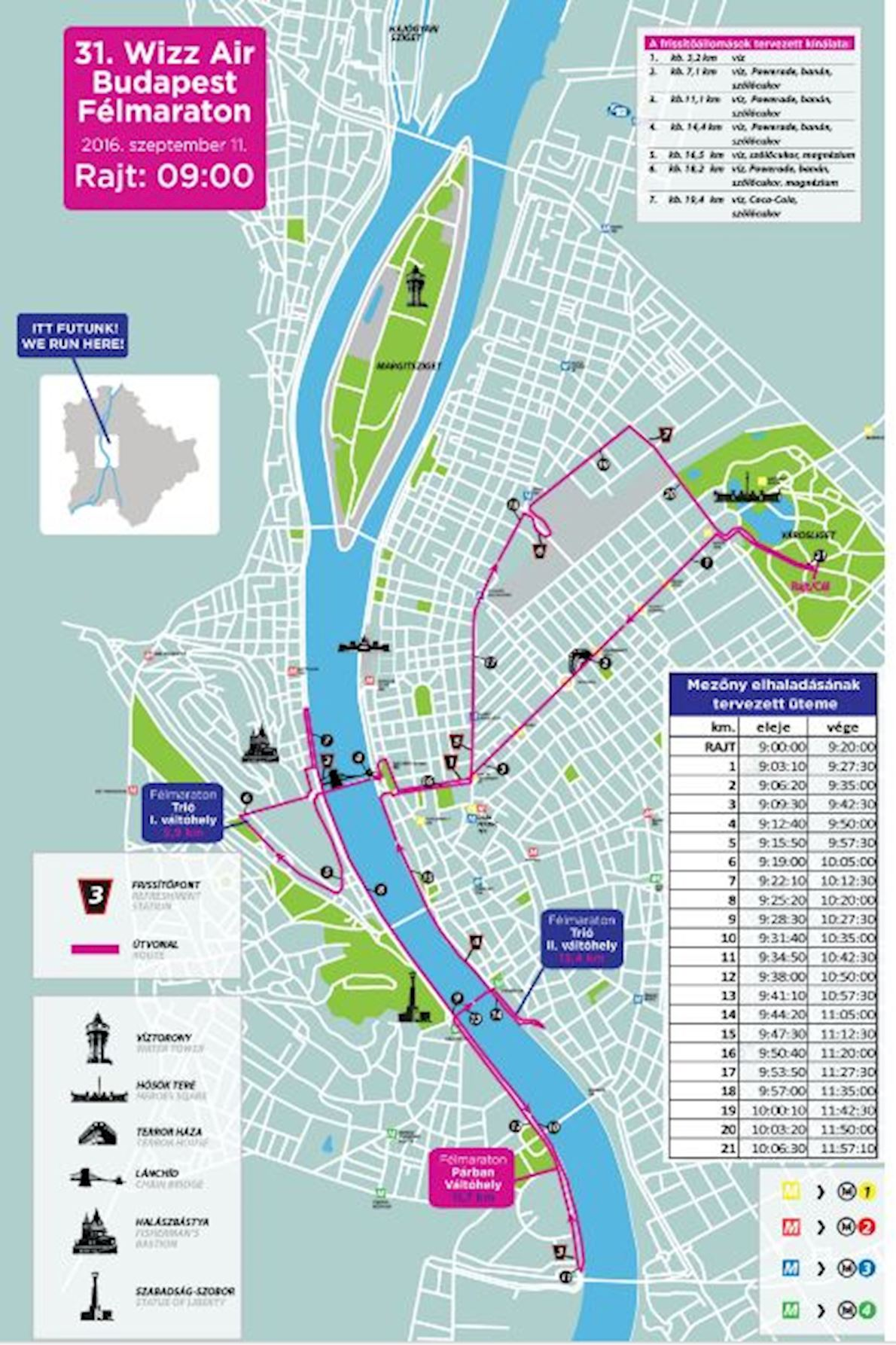 Wizz Air Budapest Half Marathon 路线图