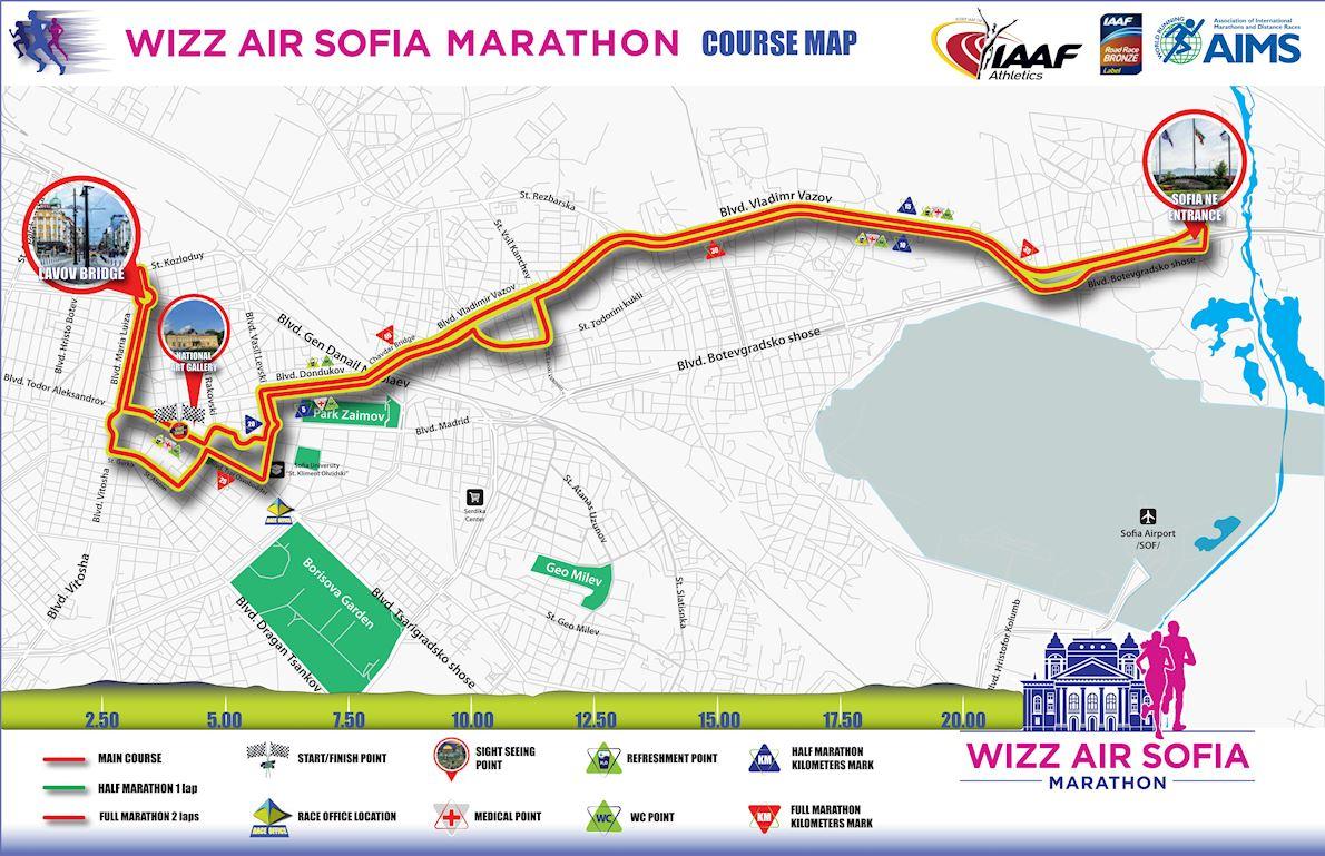Wizz Air Sofia Marathon Route Map