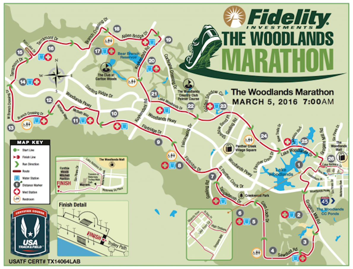 The Woodlands Marathon 路线图