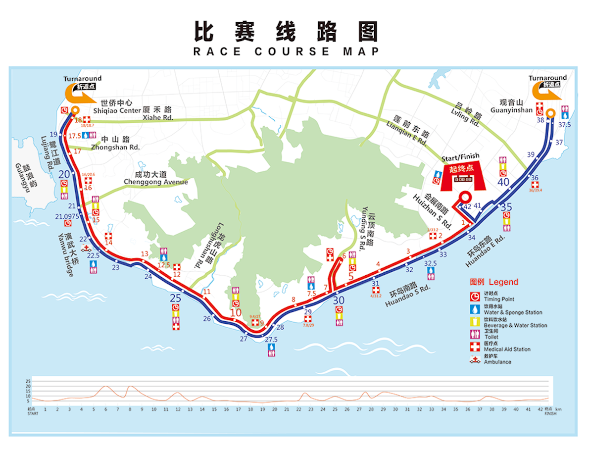 Xiamen International Marathon Routenkarte