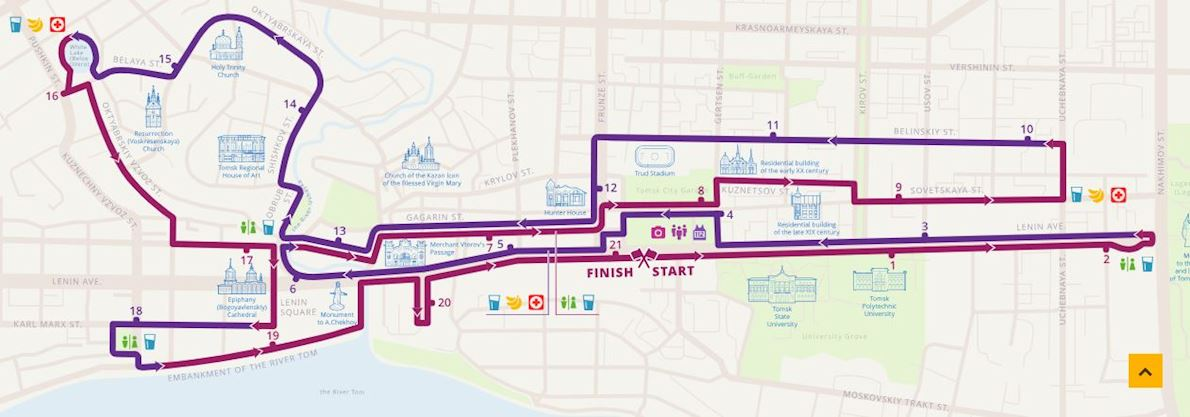 Yarche Tomsk International Marathon Mappa del percorso