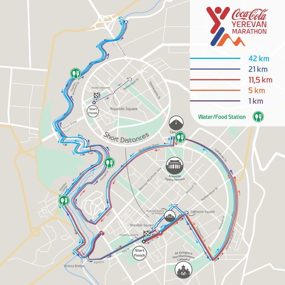 Coca-Cola Yerevan Marathon Routenkarte
