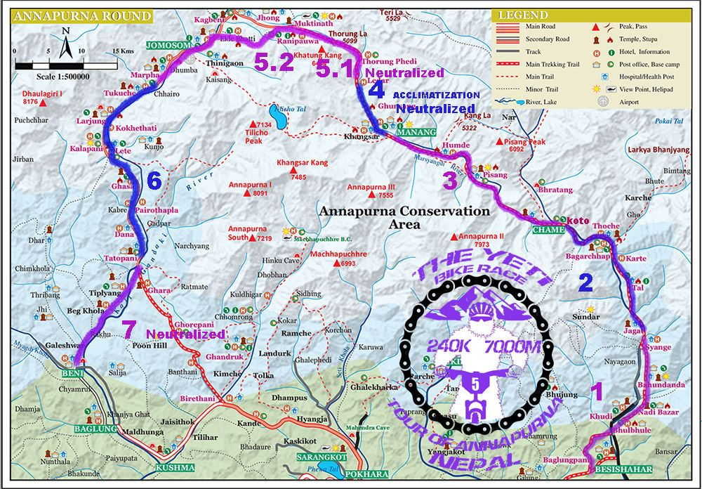 Yeti Bike Race Nepal tour of Annapurna Route Map