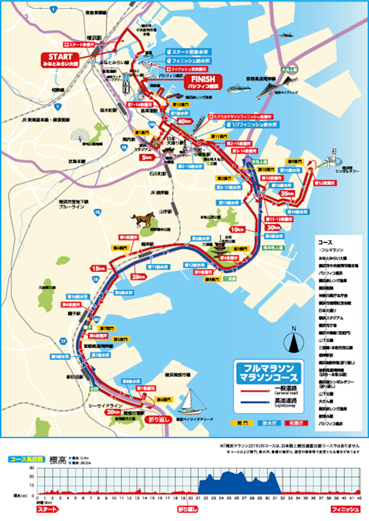 Yokohama Marathon Route Map