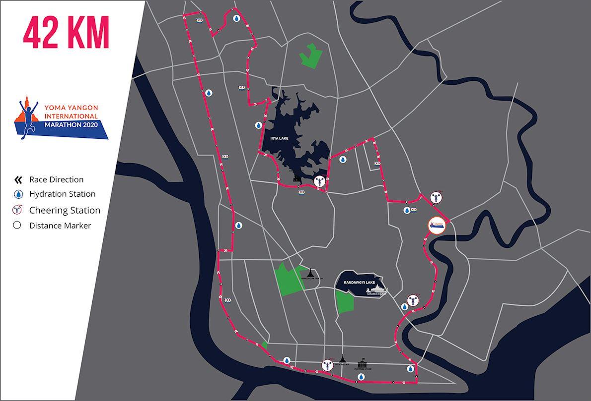 Yoma Yangon International Marathon MAPA DEL RECORRIDO DE