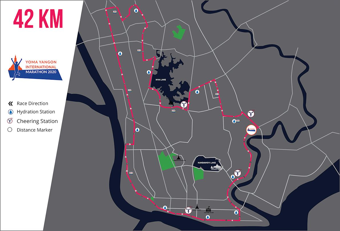 Yoma Yangon International Marathon Routenkarte