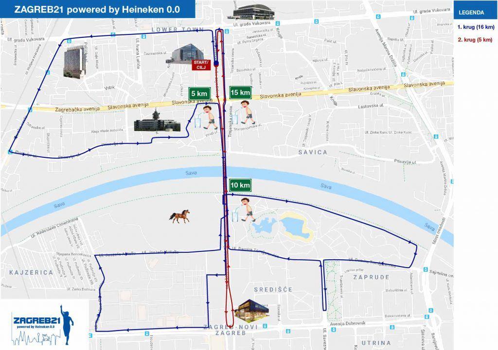 Zagreb21 – Zagreb Spring Half Marathon powered by Heineken 0.0 Route Map