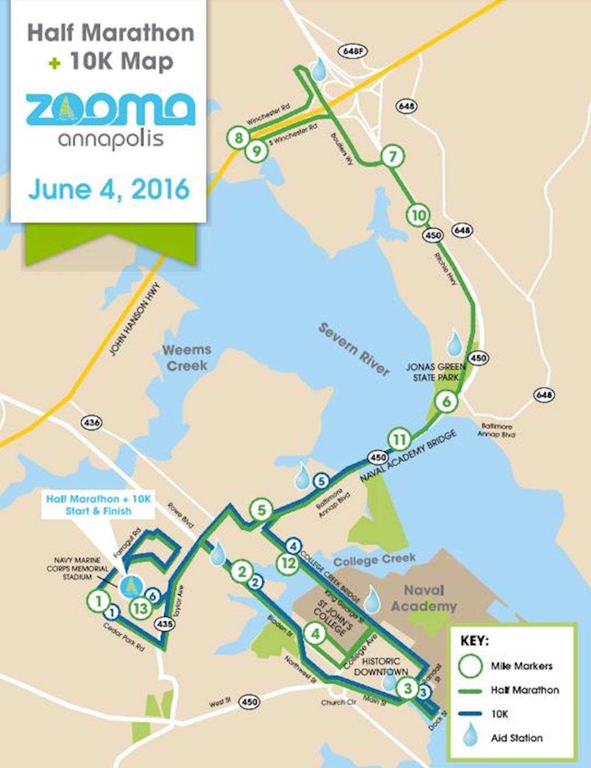 ZOOMA Annapolis Women's Half Marathon Routenkarte