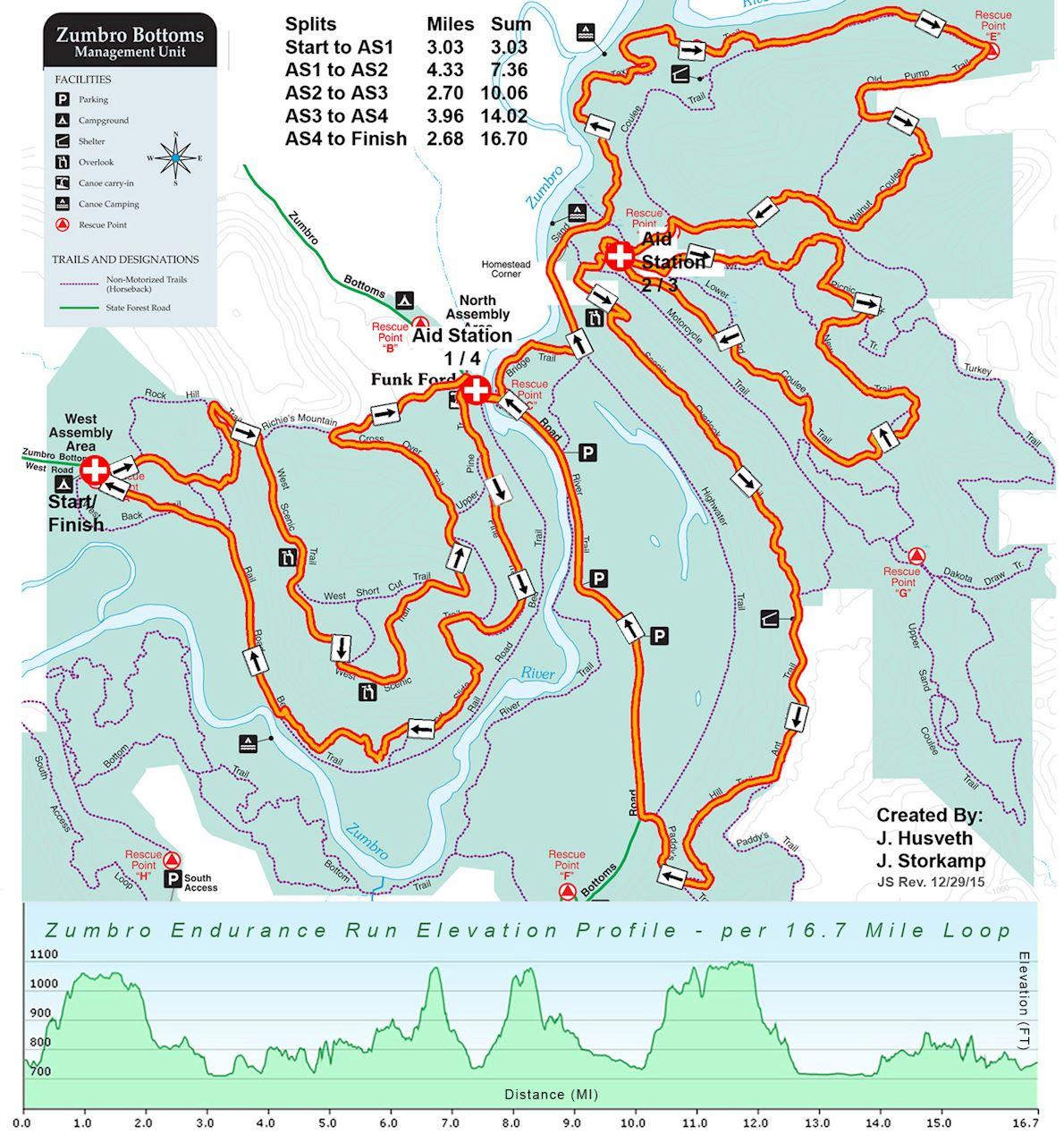 Zumbro Endurance Run 路线图