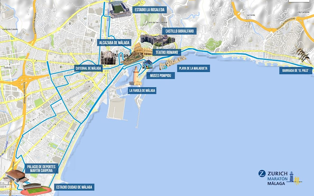 Zurich Maratón Málaga  Mappa del percorso