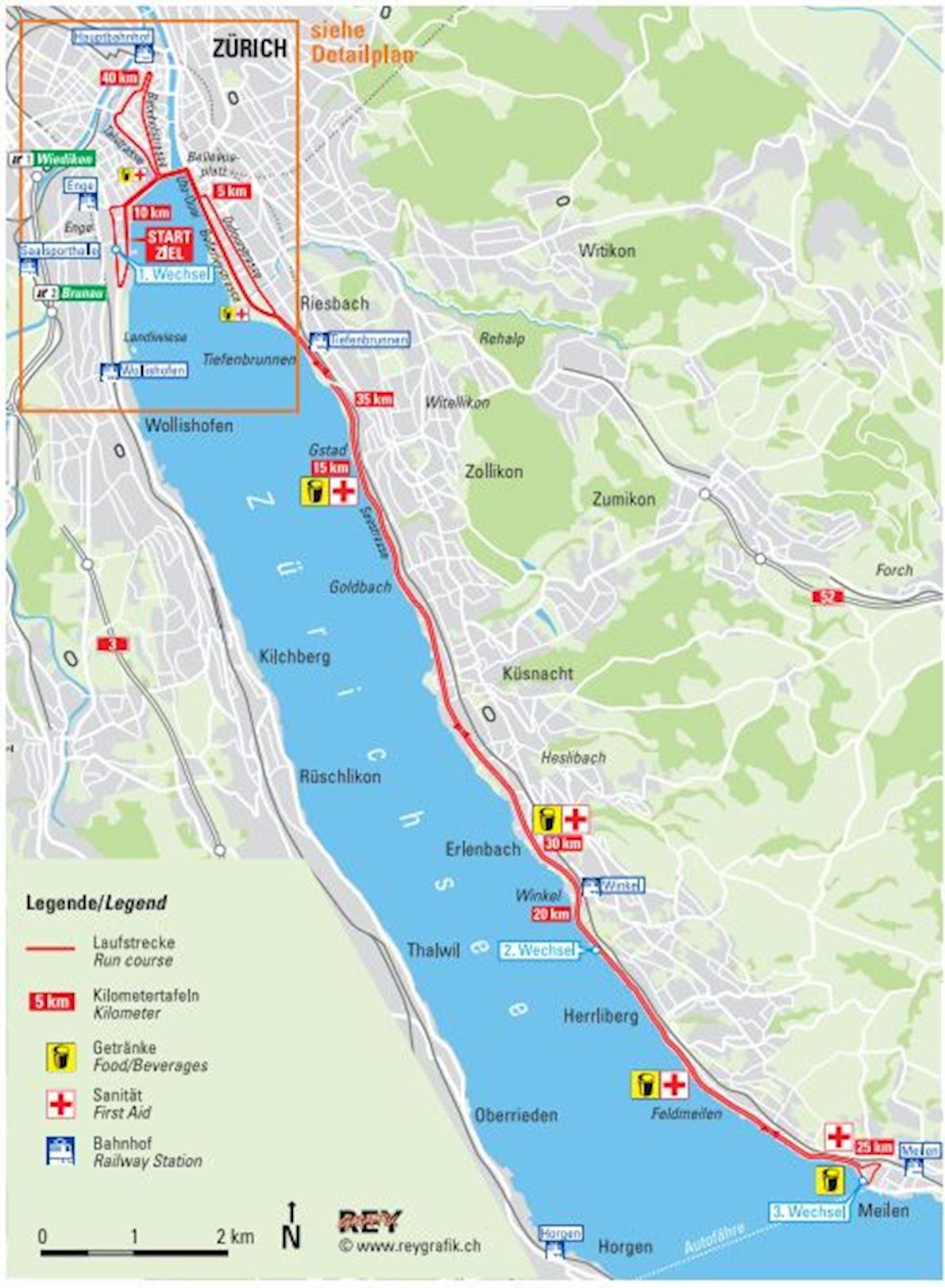 Zürich Marathon Routenkarte