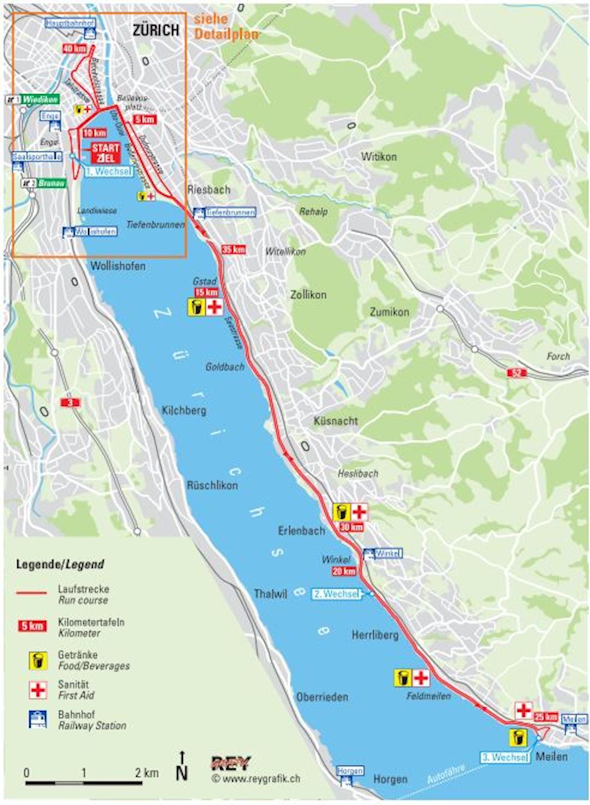 Zurich Marathon MAPA DEL RECORRIDO DE