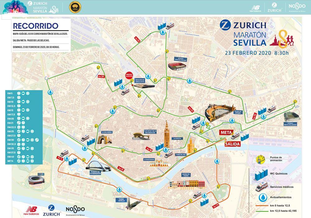 ZURICH MARATON DE SEVILLA Routenkarte