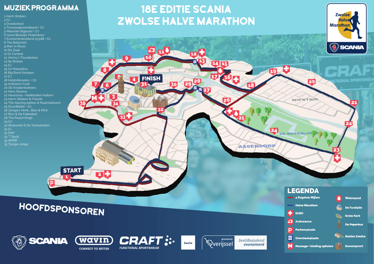 Zwolse Halve Marathon Route Map